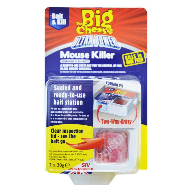 The big cheese ultra power mouse killer bait station 2x20g (in display)