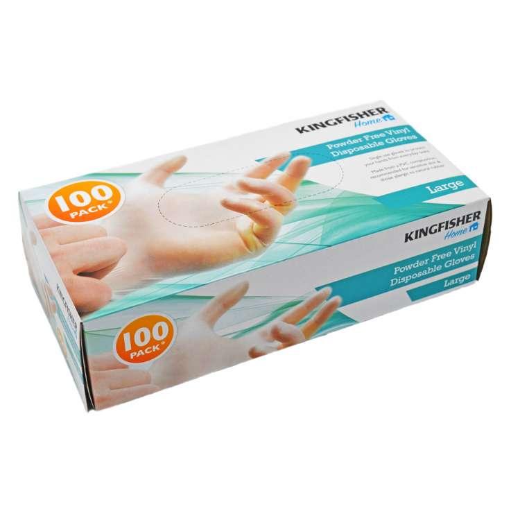 Powder Free Vinyl Disposable Gloves 100 Pack - Large