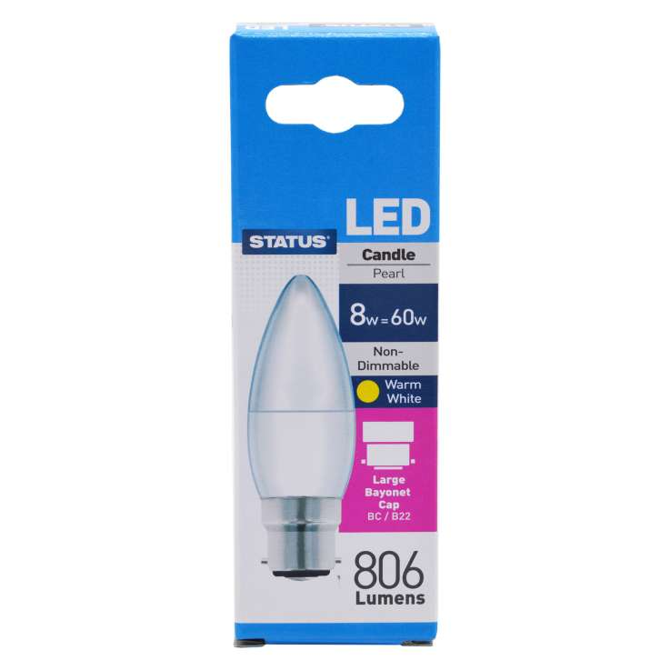 Status LED 8w=60w Bayonet Cap Candle Light Bulb