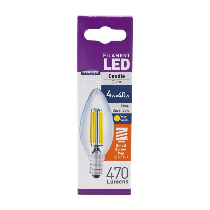 Status Filament LED 4w=40w Small Screw Cap Candle Light Bulb