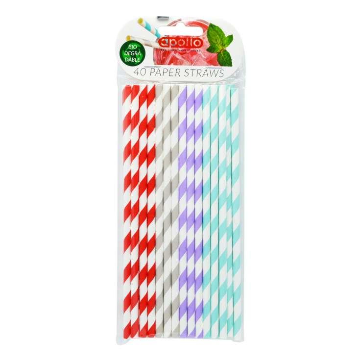 Apollo Paper Straws 40 Pack - Clip Strip Provided