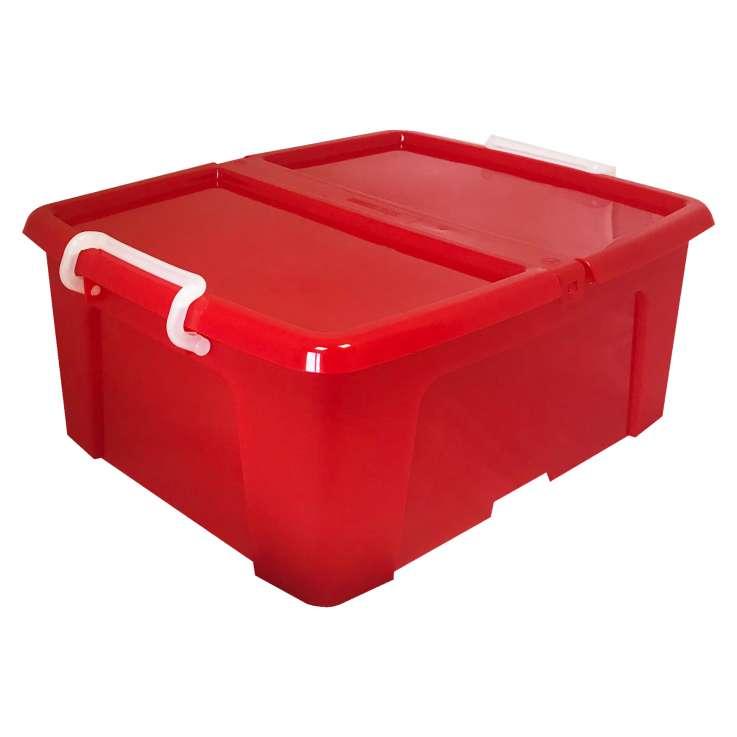 Strata 24L storage box (with lip & clip closure) - Red
