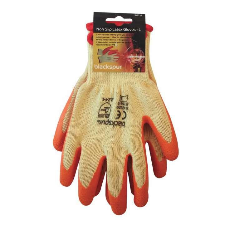 Non slip latex gloves LARGE