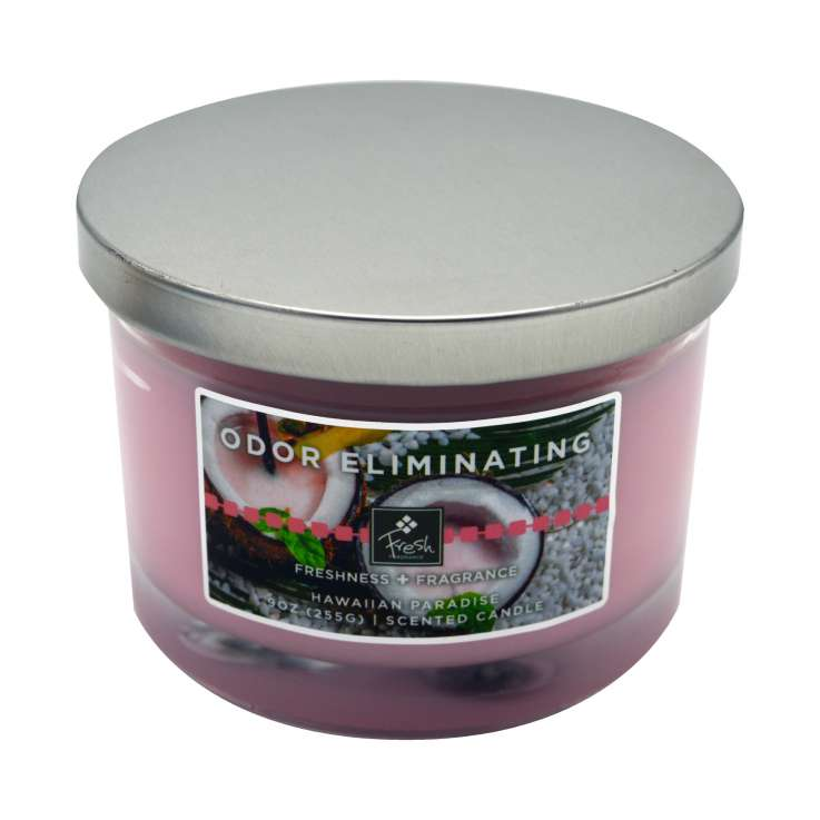 Odor eliminating 3 wick candle - paradise fresh 9oz
