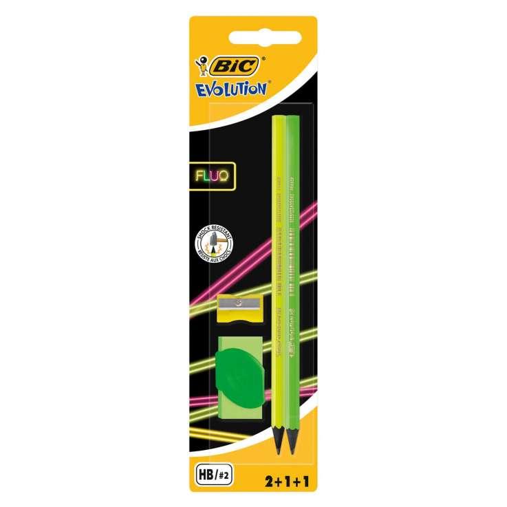 BIC Evolution Graphite Pencils 2 Pack + Eraser & Sharpener