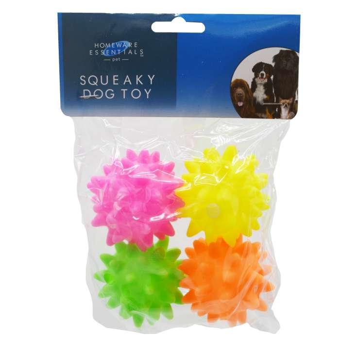 Homeware Essentials Squeaky Dog Toy 4 Pack
