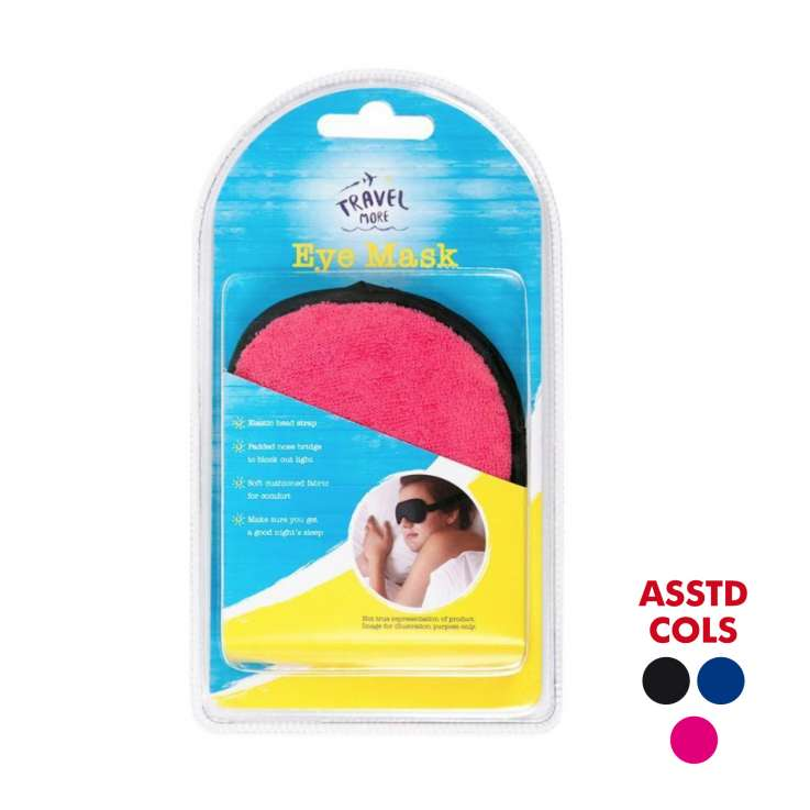 Towelling travel eye mask - assorted colours