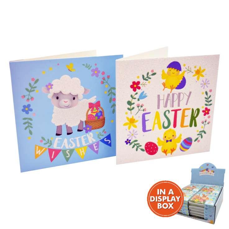 Easter cards 10PK - Cute (in acetate box) - in display