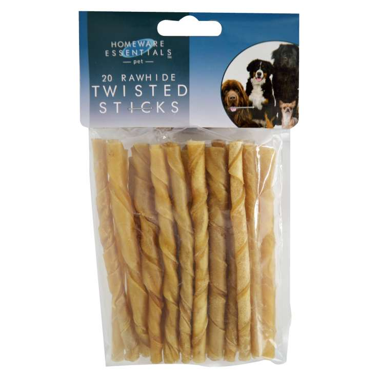 Homeware Essentials Rawhide Twisted Sticks 20 Pack - Approx 130g/13cm