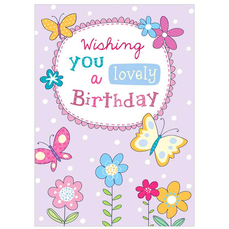 Garlanna Greeting Cards Code 50 - Lovely Birthday Butterfly