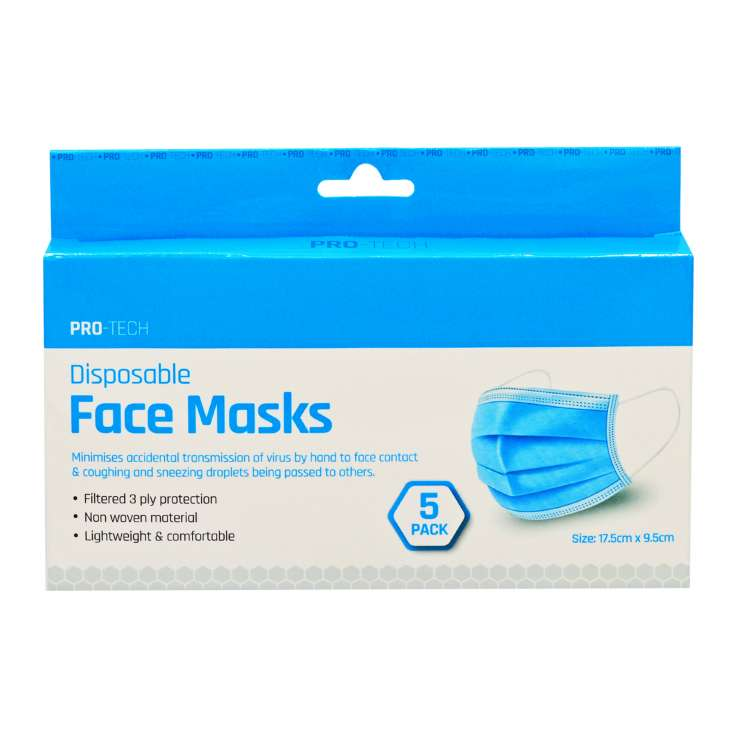 Pro-Tech Disposable Face Masks 5 Pack (3 Ply)