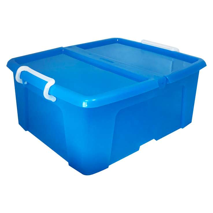 Strata 24L storage box (with lip & clip closure) - Blue