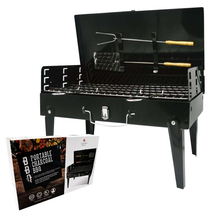 Portable charcoal BBQ with utensils 42.5 x 24.5cm