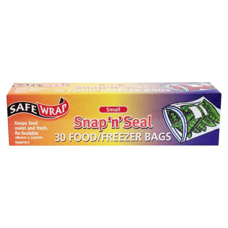 Safe Wrap 30 small food/freezer bags snap n seal - 180x230mm