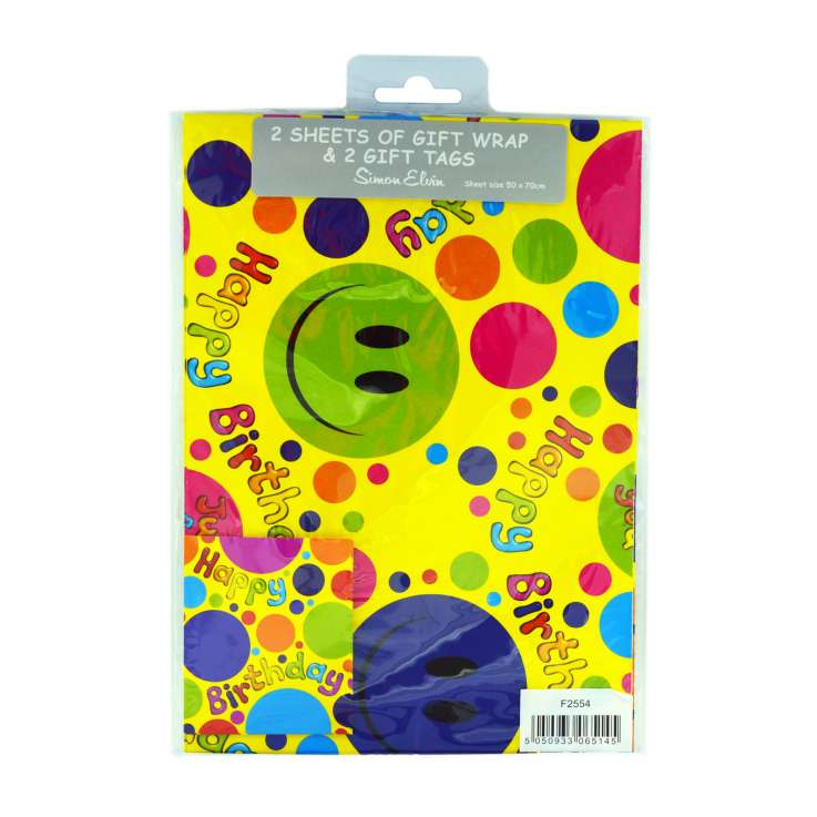Gift Wrap 2 Pack + 2 Tags - Smiley Face (50cm x 70cm)