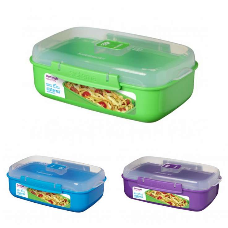 Sistema 1.25L rectangle microwave container - assorted colours