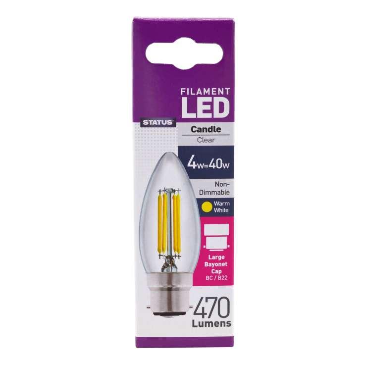 Status Filament LED 4w=40w Bayonet Cap Candle Light Bulb