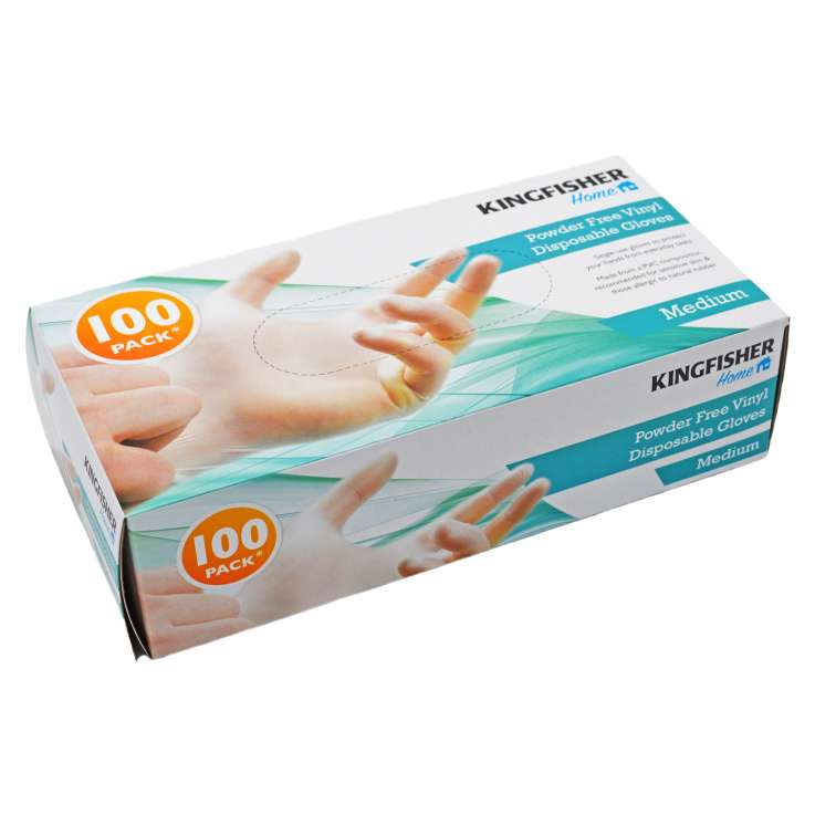 Powder Free Vinyl Gloves 100 Pack - Medium