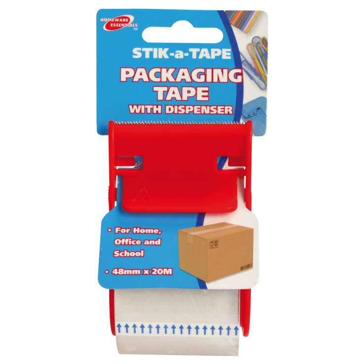 Homeware Essentials Packaging Tape With Dispenser 48mm x 20m