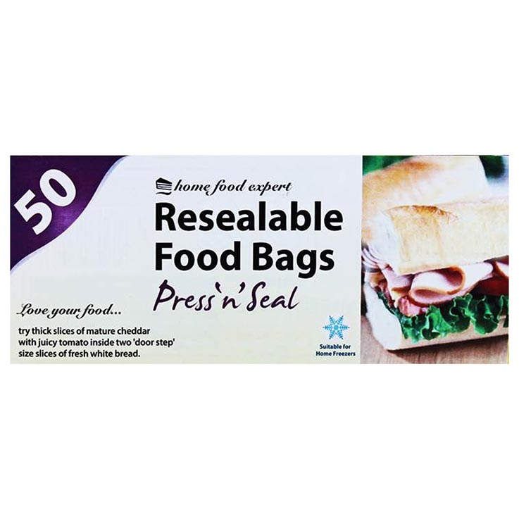 Resealable food bags 50pk (approx 190mm x 215mm)