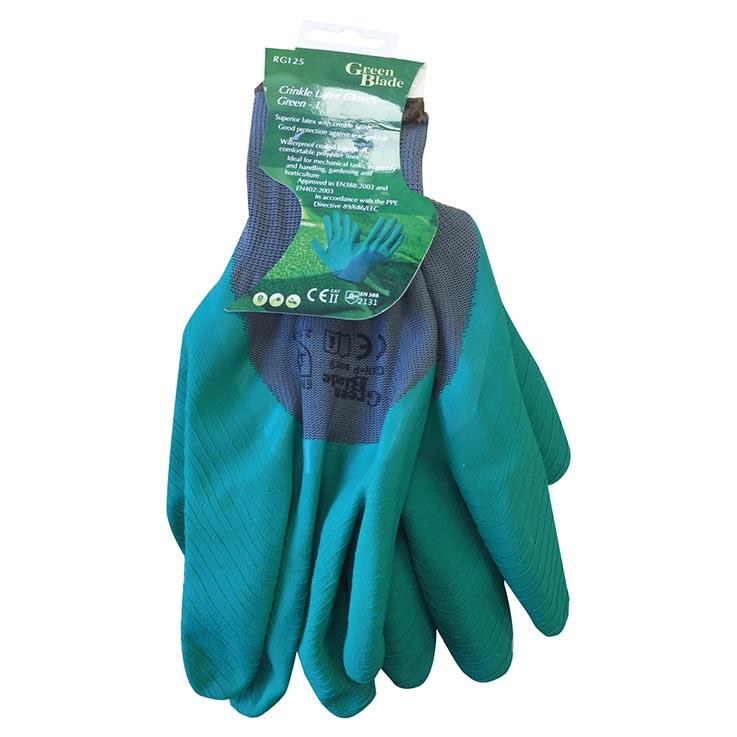 Crinkle latex green gloves