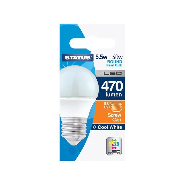 (round) cool white led 5w = 40w -status *large screw* cap