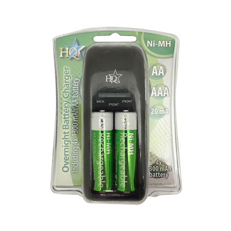Hq plug in battery charger (includes 4 x AA batteries)
