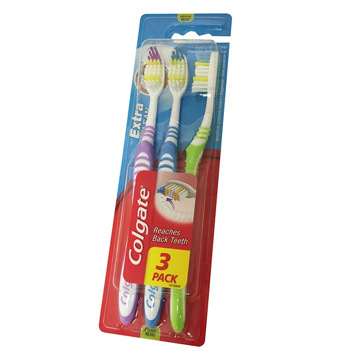 Colgate extra clean toothbrush 3pk - medium
