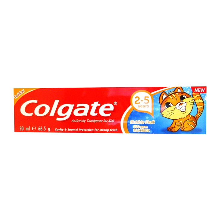 Toddler 2-5yrs colgate toothpaste 50ml bubble fruit