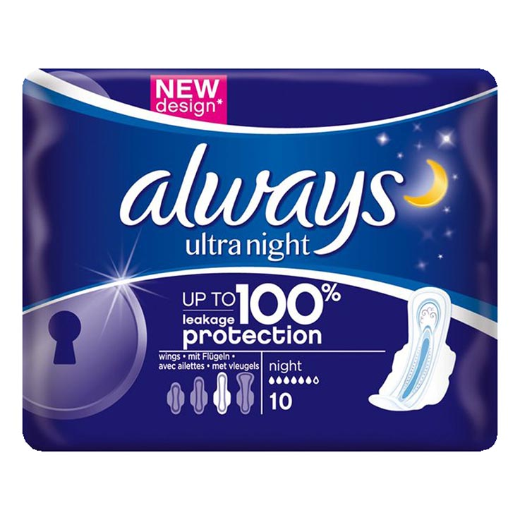 Always ultra pads 10pk - night (5% vat)