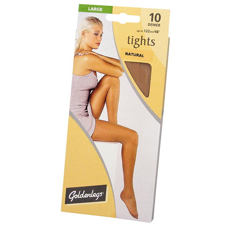 Tights sgl pk 10d large - natural