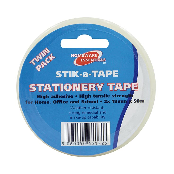 H/ess clear tape twin pack 18mm x 50m