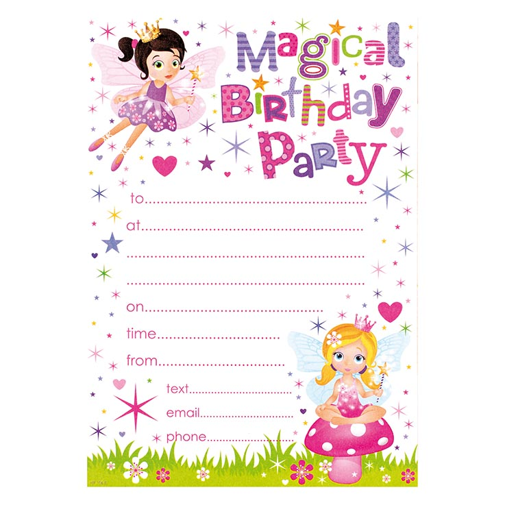 Party invitation 20pk girl - hp106r