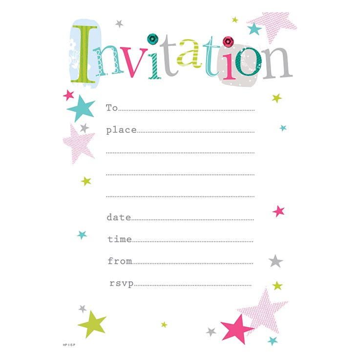 Party invitation 20pk open - hp115p