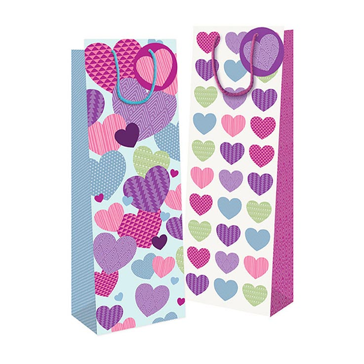 Bottle gift bag hearts - 7804