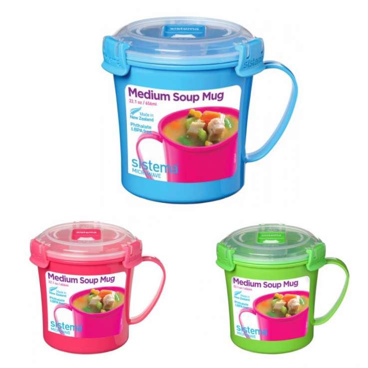 Sistema 656ml medium soup mug - assorted colours