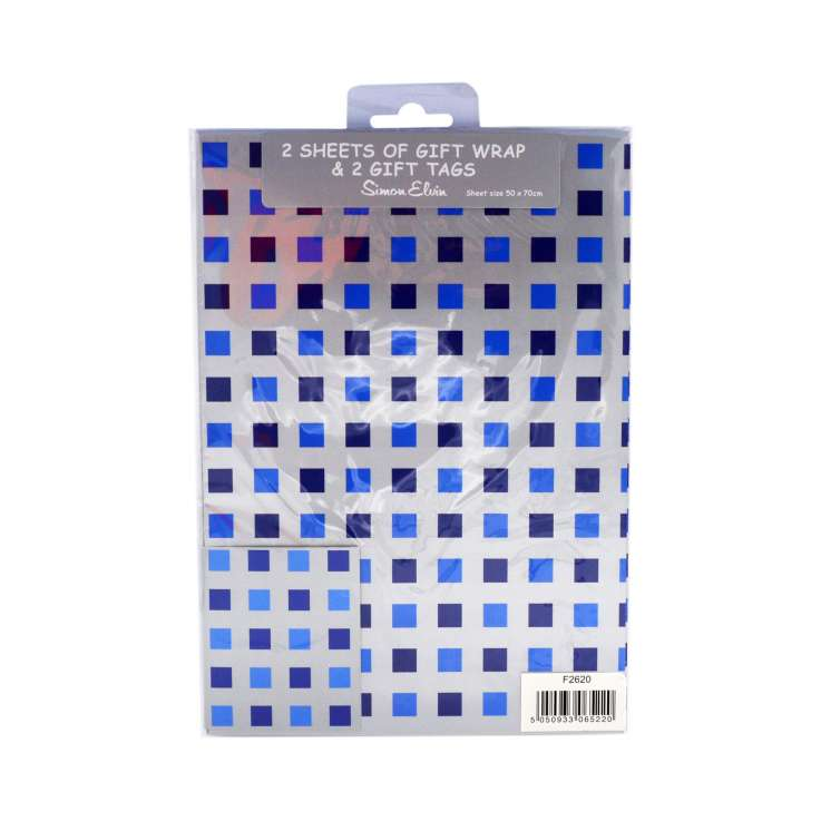 Gift Wrap 2 Pack + 2 Tags - Blue Squares (50cm x 70cm)