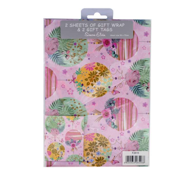 Gift Wrap 2 Pack + 2 Tags - Floral Circles (50cm x 70cm)