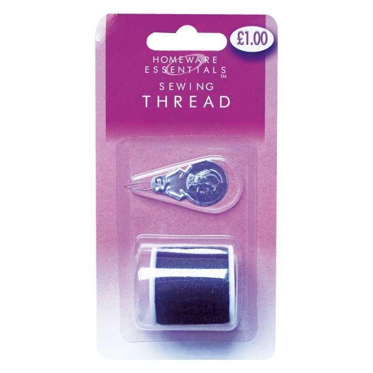 Homeware Essentials Black Sewing Thread & Threader 100m (HE09)