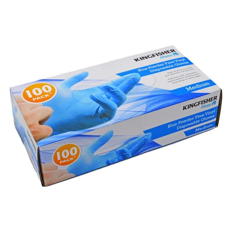 Blue Powder Free Vinyl Gloves 100 Pack - Medium