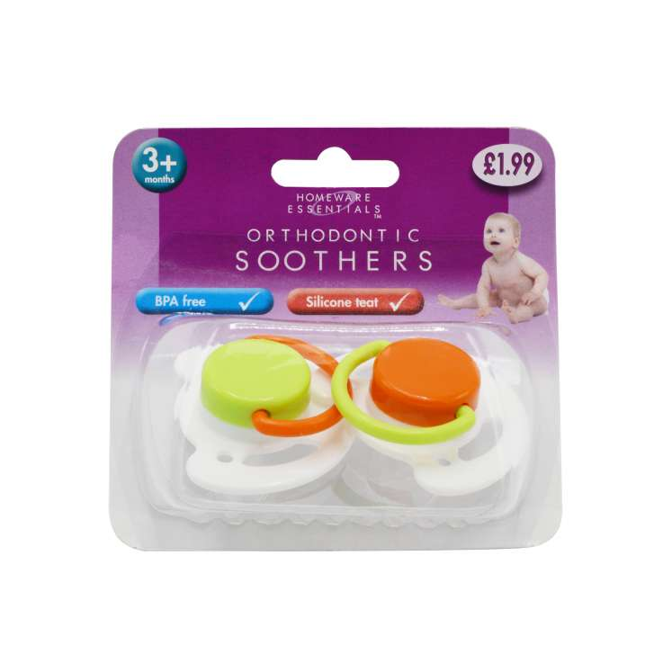 Homeware Essentials Orthodontic Soothers 2 Pack (HE46) - Clip Strip Provided