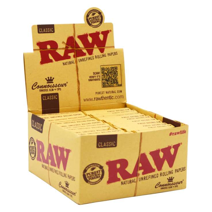 RAW Classic Connoisseur King Size Slim Rolling Papers and Filter Tips 32 Pack