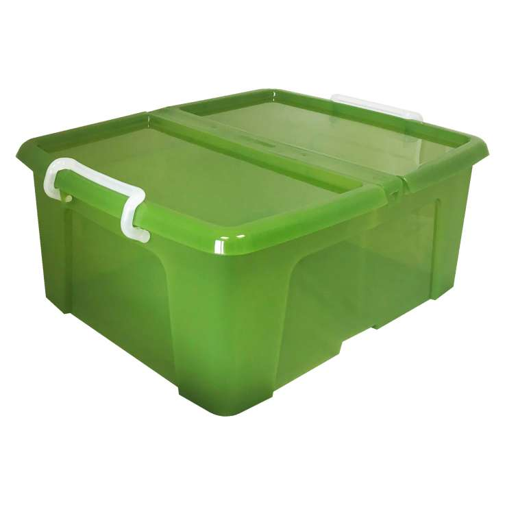Strata 24L storage box (with lip & clip closure) - Green