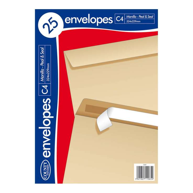 C4 Manilla Peel & Seal Envelopes 25 Pack (324mm x 229mm)