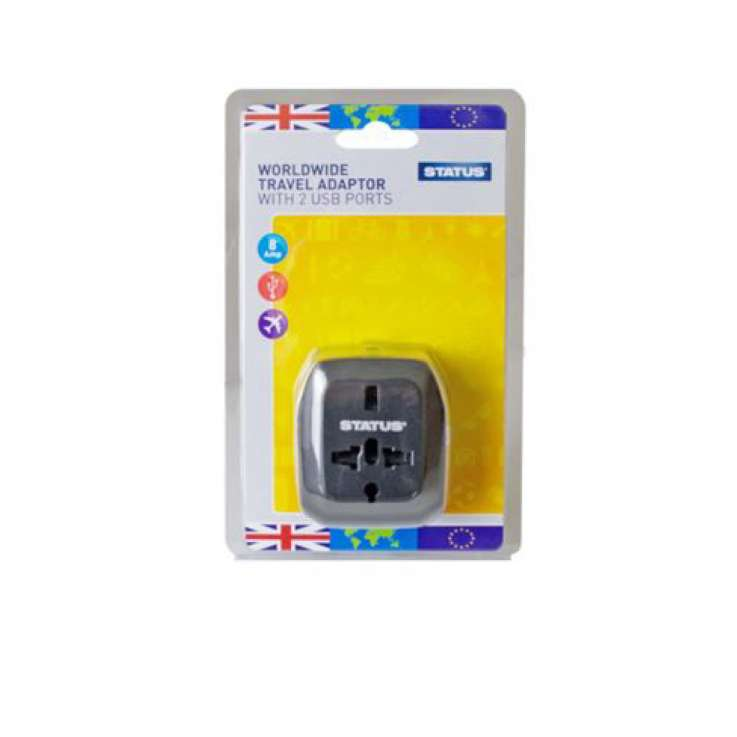 Worldwide travel adaptor with 2 USB ports - IN DISPLAY