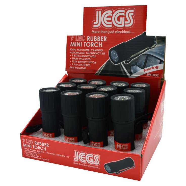 Jegs 9 LED mini rubber torch - in display