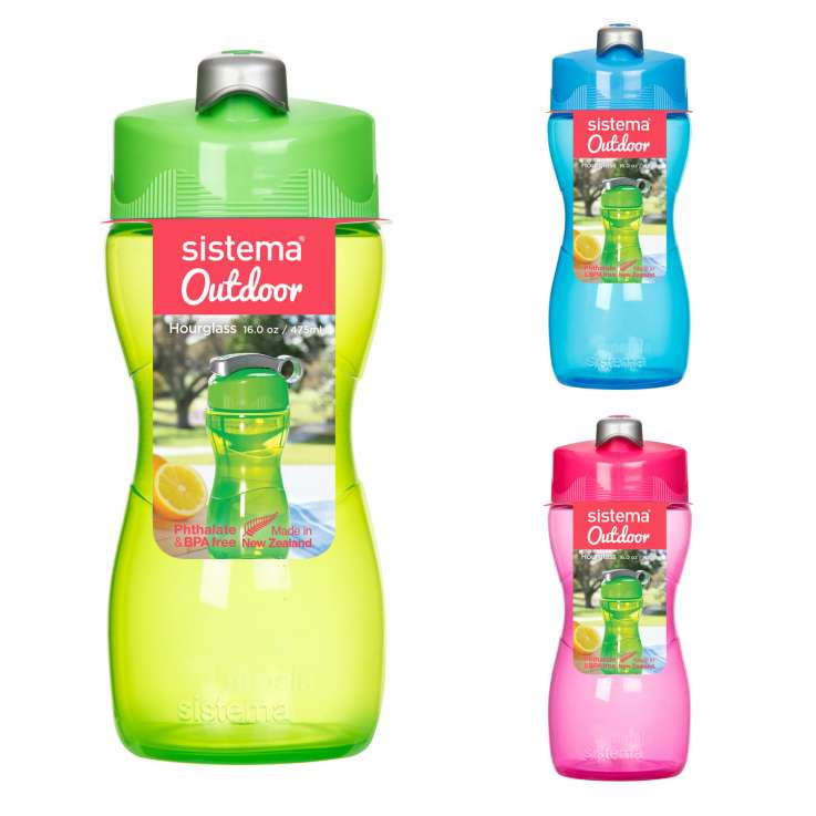 Sistema hourglass outdoor bottle 475ml - assorted colours