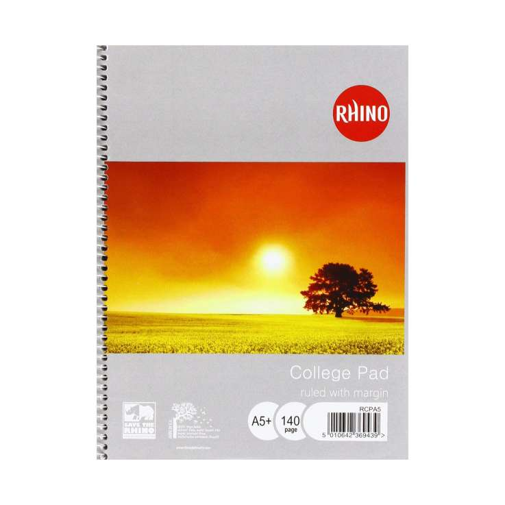 Rhino A5 college pad ruled with margin - 140 page