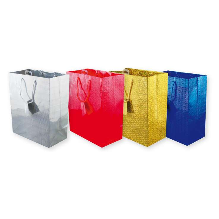 Holographic gift bag large w26cm x h32cm - 3304 (assorted 3 colours of each)