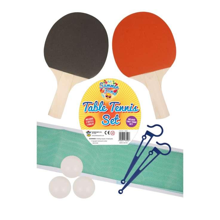 Table tennis set with 2 bats, 3 balls & 1 net